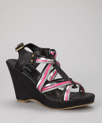 Black & Silver Strappy Wedge