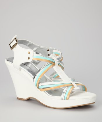 White & Aqua Strappy Wedge