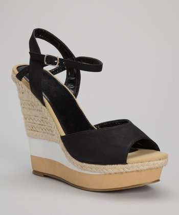 Black & Tan Stripe Espadrille