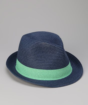 Navy & Green Band Fedora