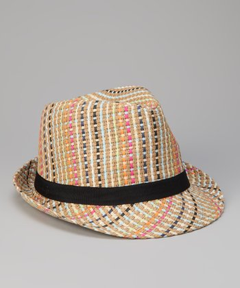 Natural Stripe Weave Fedora