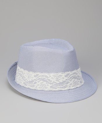 Blue Lace Trim Fedora