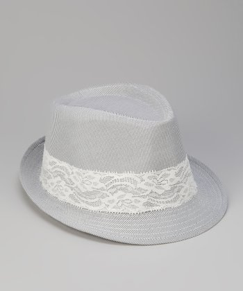 Gray Lace Trim Fedora