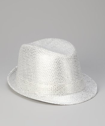 White Metallic Fedora