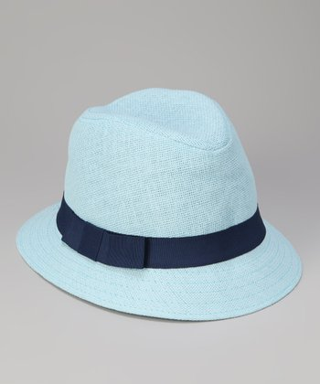 Light Blue Bow Band Cloche Hat