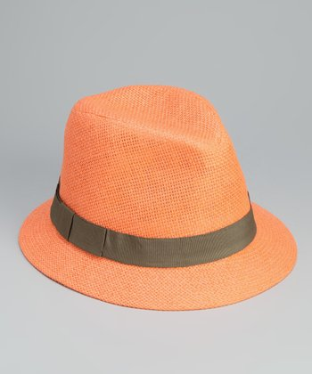 Orange Bow Band Cloche Hat