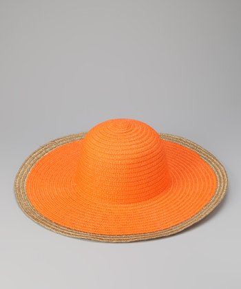 Orange Metallic Trim Sun Hat