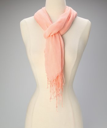 Light Coral Fringe Scarf