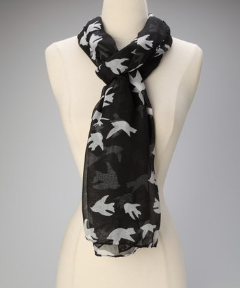 Black Bird Print Scarf