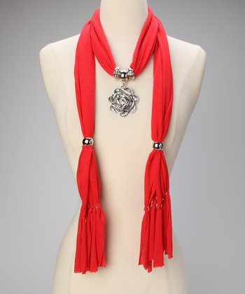 Red Rose Pendant Scarf