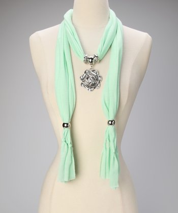 Sea Foam Rose Pendant Scarf