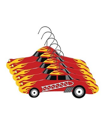 Red Fire Engine Hanger - Set of Five