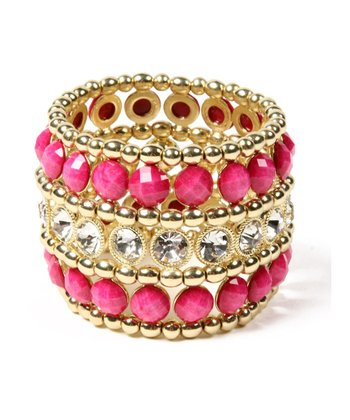 Austrian Crystal & Fuchsia Wainscot Bangle
