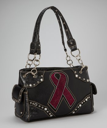 Black Pink Ribbon Shoulder Bag