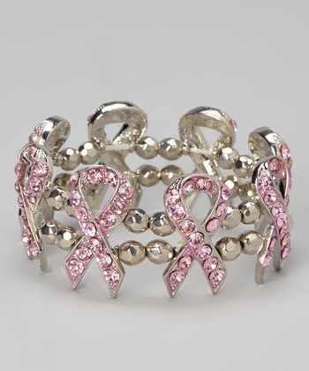 Silver & Pink Ribbon Stretch Bracelet