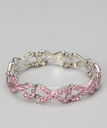 Pink Ribbon Chain Linked Stretch Bracelet