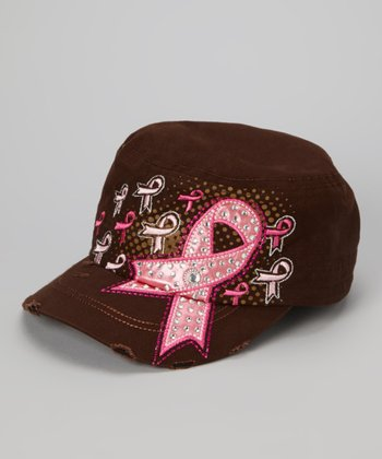 Brown Pink Ribbon Cadet Cap