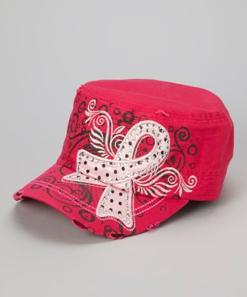 Hot Fuchsia Studded Pink Ribbon Cadet Cap