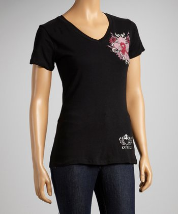 Black Fleur-de-Lis Pink Ribbon Short-Sleeve Top - Women