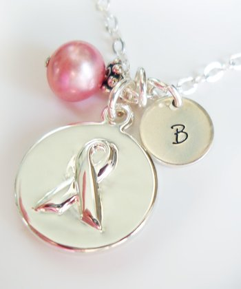 Pink Pearl & Sterling Silver Ribbon Initial Pendant Necklace