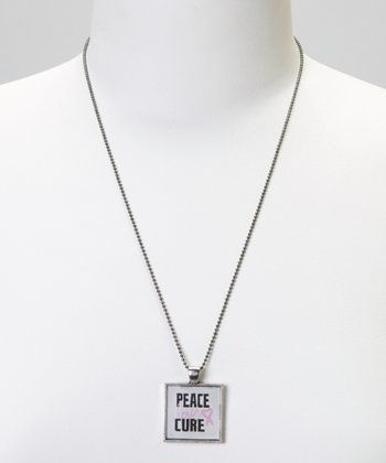 Silver 'Peace Love Cure' Bezel Pendant Necklace