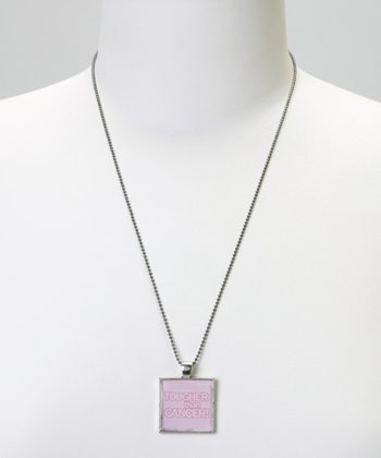 Silver 'Tougher Than Cancer' Bezel Pendant Necklace