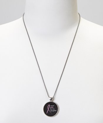 Silver 'I Wear Pink For My Daughter' Pendant Necklace