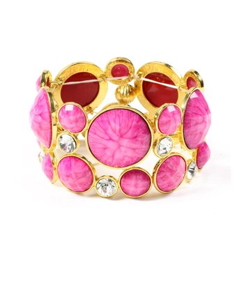 Austrian Crystal & Fuchsia Sunrise Stretch Bracelet