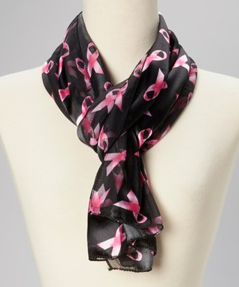 Black & Pink Ribbon Scarf