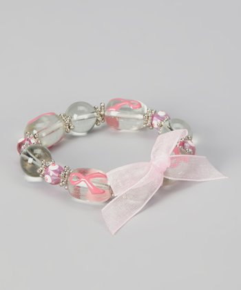 Clear & Pink Ribbon Bead Stretch Bracelet