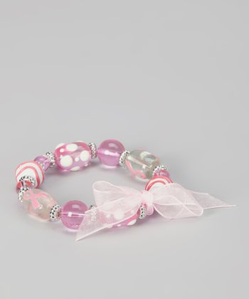 White & Pink Ribbon Polka Dot Bead Stretch Bracelet