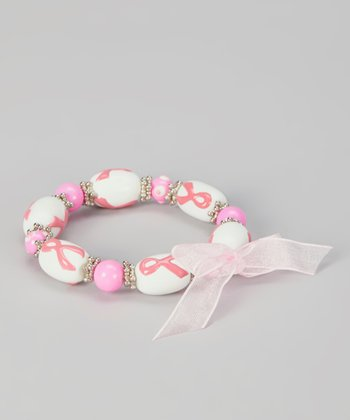 White & Pink Ribbon Bead Stretch Bracelet