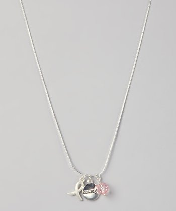 Silver & Pink 'Courage' Ribbon Charm Necklace