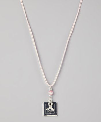Silver & Pink 'Hope' Ribbon Pendant Necklace