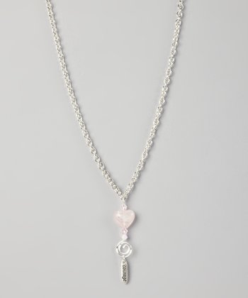 Silver & Pink 'Courage' Heart Charm Necklace