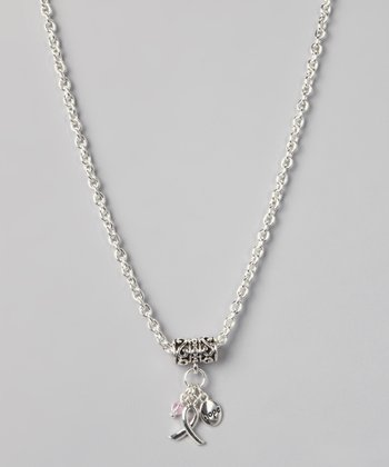 Silver 'Hope' Ribbon Charm Necklace