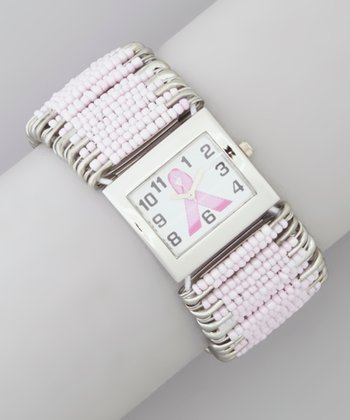 Pink Ribbon Beaded Stretch Watch