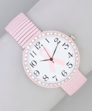Pink & Rhinestone Ribbon Stretch Watch
