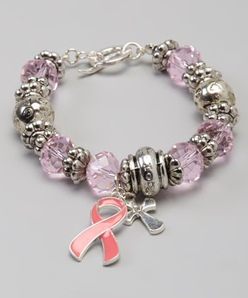 Silver & Pink Breast Cancer Ribbon & Cross Bracelet