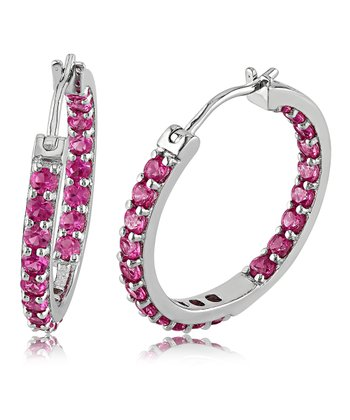 Pink Sapphire & Sterling Silver Hoop Earrings