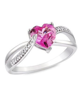 Diamond, Pink Sapphire & Sterling Silver Heart-Cut Ring