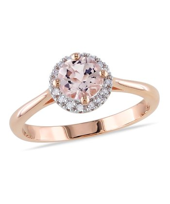 Diamond & Morganite Round Cut Ring