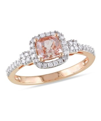 Diamond & Morganite Antique Cushion Ring