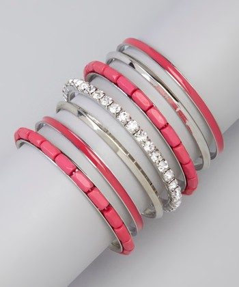 Rose Rhinestone Bangle Set