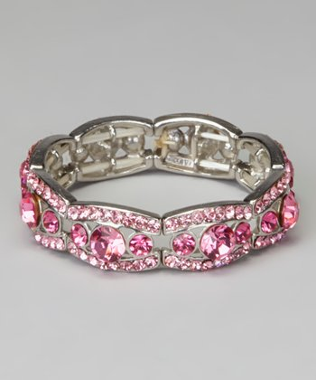 Rose Rhinestone Stretch Bracelet