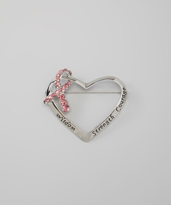 Gold & Pink Rhinestone Inspiration Heart Pin