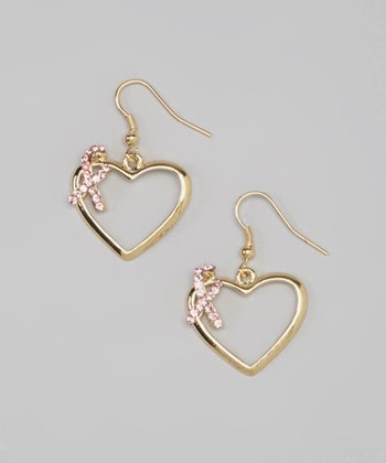 Gold & Pink Rhinestone Ribbon Wrapped Heart Earrings