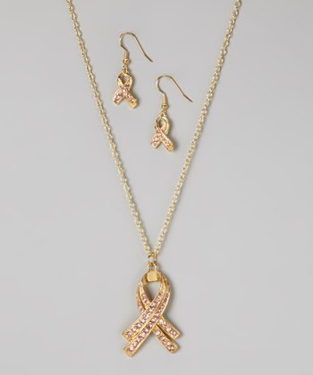 Gold & Pink Rhinestone Ribbon Necklace & Earrings