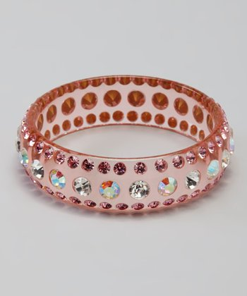Rose Rhinestone Lucite Bangle