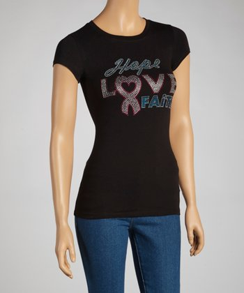 Black 'Hope, Love, Faith' Short-Sleeve Top - Women & Plus